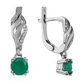 Серебряные серьги Унисон с зеленым агатом и фианитами