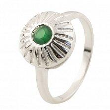 Серебряное кольцо Юлиана с зеленым агатом