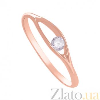 Золотое кольцо в красном цвете с цирконием Утонченность 000029231
