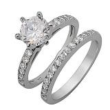Двойное серебряное кольцо с фианитами Ильмира