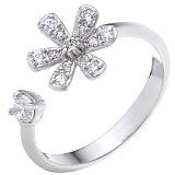 Серебряное кольцо Цветочная гармония с фианитами