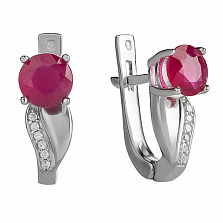 Серебряные серьги Тюльпан с рубином и цирконием