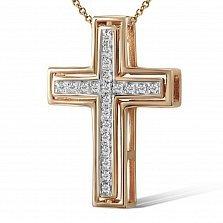 Крестик из желтого золота Вера с бриллиантами