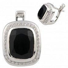 Серебряные серьги Фелицата с черным ониксом