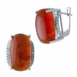 Серебряные серьги янтарем и цирконием 000128615
