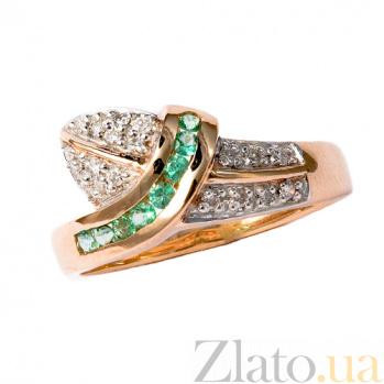 Золотое кольцо в красном цвете с изумрудами и бриллиантами Киния ZMX--RE-925_K