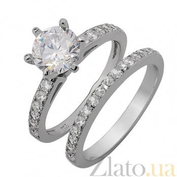Двойное серебряное кольцо с фианитами Ильмира 31148