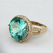 Золотое кольцо Успех с синтезированным аметистом и фианитами