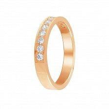 Обручальное кольцо Преклонение из красного золота с дорожкой бриллиантов