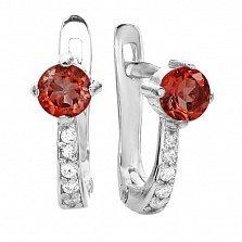 Серебряные сережки Легкость с красно-оранжевыми и белыми фианитами