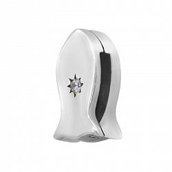 Серебряный шарм Рыбка со звездой и кристаллом циркония 000119246