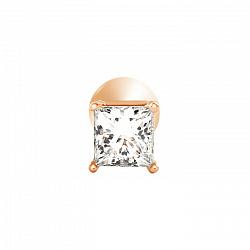 Золотая серьга-пуссета Королевская радость в красном цвете с бриллиантом