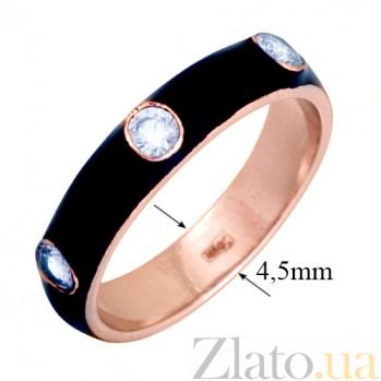 Золотое кольцо Пастель с фианитами и эмалью чёрного цвета К221кр/чёр