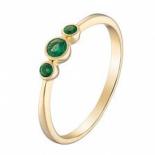 Кольцо в желтом золоте Паула с изумрудами