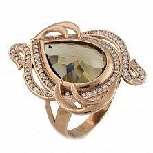 Серебряное кольцо Гвиневера с гидротермальным кварцем и фианитами