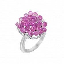 Золотое кольцо Розовая гроздь в белом цвете с розовыми сапфирами и бриллиантами