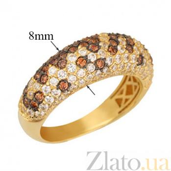 Кольцо из желтого золота с оранжевыми и белыми фианитами Хлоя VLT--ТТ1002-1