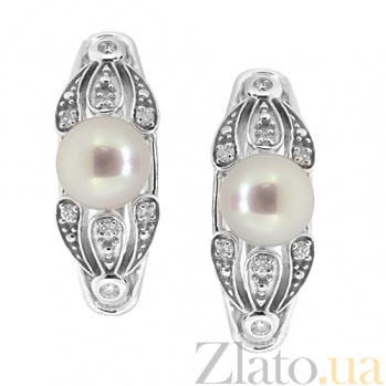 Золотые серьги с бриллиантами и жемчугом Ассоль ZMX--EDP-6856w_K
