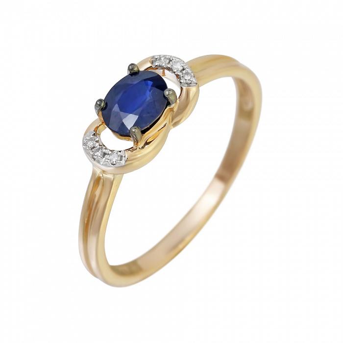 Золотое кольцо с сапфиром и бриллиантами Милисент 000032289