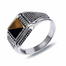 """Перстень печатка из серебра с золотом и обсидианом""""Фабио"""""""