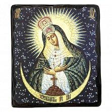 Икона на деревянной основе Остробрамская с цветной эмалью, 20х25