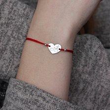 Шёлковый браслет Eternal Love in My Heart с серебряной вставкой-сердцем