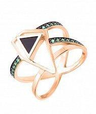 Золотое кольцо Магия геометрии с черным агатом и зелеными фианитами