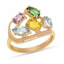 Золотое кольцо Дафна с синтезированным аметистом, изумруом, цитрином и топазом