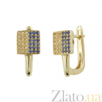 Золотые серьги с сапфирами Флаг Украины 000026623