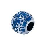 Серебряная бусина с синей эмалью и узором