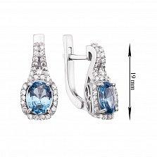 Серебряные серьги с синим кварцем и цирконием 000136266