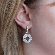 Серебряные серьги-подвески Путеводная звезда в усыпке белого циркония