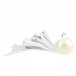 Серебряная брошь Белла с жемчугом 000065960