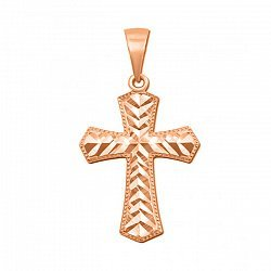Крестик из красного золота с алмазной гранью 000106373