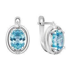 Серьги из серебра с голубыми и белыми фианитами 000024597