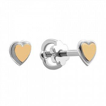 Серебряные пуссеты в виде сердечек с золотыми накладками 000102124