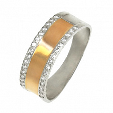 Серебряное кольцо Атлантик с золотыми вставками и фианитами