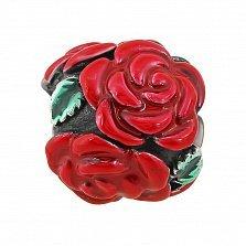 Серебряный шарм Алые розы с красной и зеленой эмалью