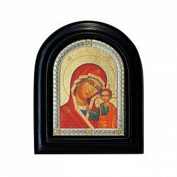 Серебряная икона Казанская Божья Матерь с позолотой 000076195