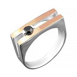 Серебряный родированный перстень-печатка Леонард с золотой накладкой и черным фианитом