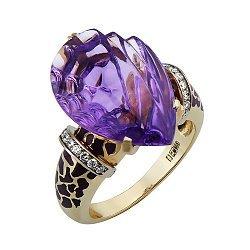 Золотое кольцо Кхалиси с аметистом, бриллиантами и эмалью 000033337