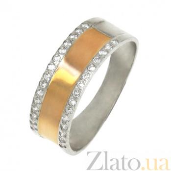 Серебряное кольцо Атлантик с золотыми вставками и фианитами BGS--550к