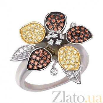 Золотое кольцо с разноцветными фианитами Жасмин  VLT--ТТ1007