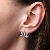 Серебряные серьги Weed с кристаллами циркония