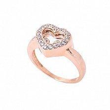 Кольцо из красного золота Тайны сердца с фианитами