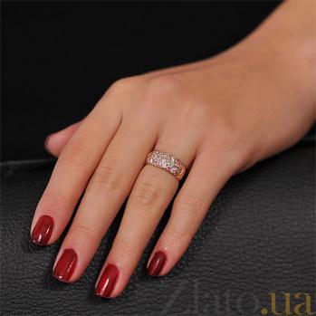 Золотое кольцо с розовыми и белыми фианитами Луиза EDM--КД045Р