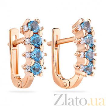 Золотые серьги с топазами и фианитами Полина SUF--110390Птг