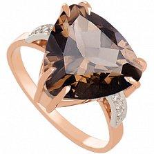 Золотое кольцо с раухтопазом и фианитами Амелина