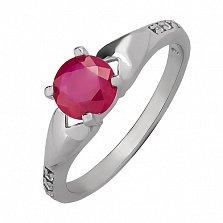 Серебряное кольцо Амор с рубином и цирконием