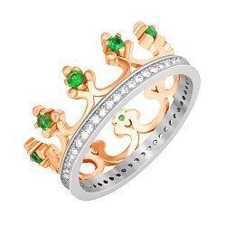 Серебряное кольцо-корона с зелеными и белыми фианитами с позолотой и родированием 000042849